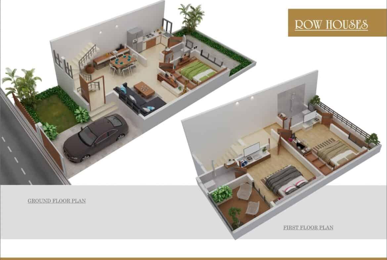 Neel vihar-1 floor plan of 3bhk row house